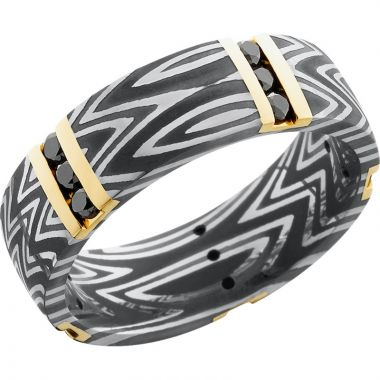 Lashbrook Black White & Yellow Damascus Steel Diamond 7mm Men's Wedding Band