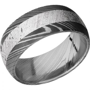 Lashbrook Black & White Damascus Steel Meteorite 9mm Men's Wedding Band