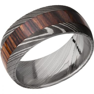 Lashbrook Black & White Damascus Steel Hardwood 9mm Men's Wedding Band