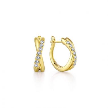 Gabriel & Co. 14k Yellow Gold Contemporary Diamond Huggie Earrings