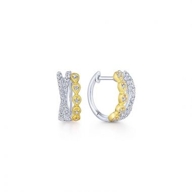 Gabriel & Co. 14k Two Tone Contemporary Diamond Huggie Earrings