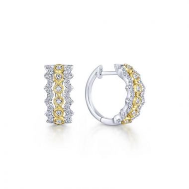 Gabriel & Co. 14k Two Tone Kaslique Diamond Huggie Earrings