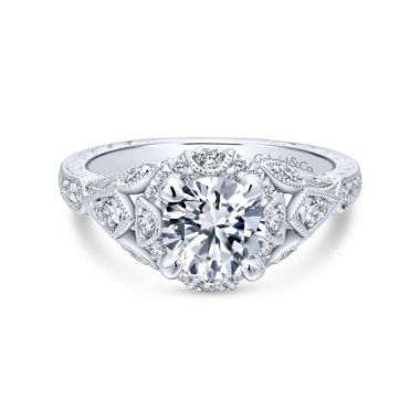Gabriel & Co. 14k White Gold Victorian Vintage Engagement Ring