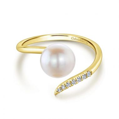 Gabriel & Co. 14k Yellow Gold Grace Pearl & Diamond Ring