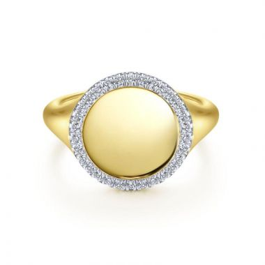Gabriel & Co. 14k Yellow Gold Contemporary Diamond Ring