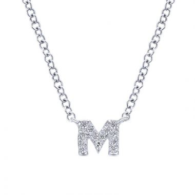 Gabriel & Co. 14k White Gold Lusso Diamond Initial Necklace