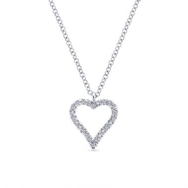 Gabriel & Co. 14k White Gold Eternal Love Diamond Heart Necklace