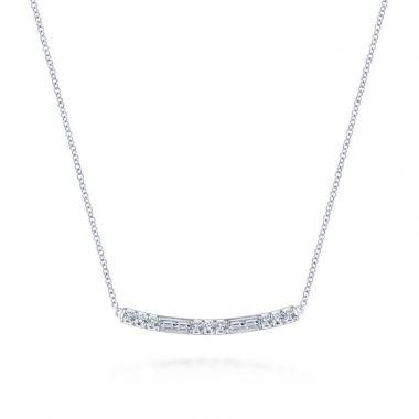 Gabriel & Co. 14k White Gold Lusso Diamond Bar Necklace