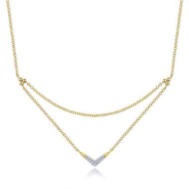 Gabriel & Co. 14k Yellow Gold Contemporary Diamond Necklace
