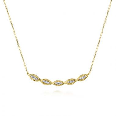 Gabriel & Co. 14k Yellow Gold Hampton Diamond Bar Necklace