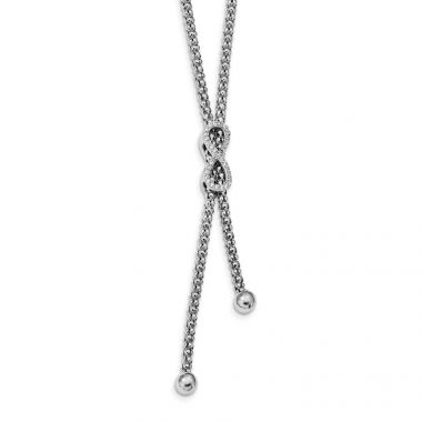 Quality Gold Sterling Silver Rhodium-plated CZ Infinity Dangle 16.75in Necklace