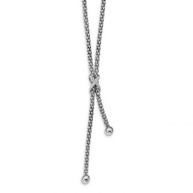 Quality Gold Sterling Silver Rhodium-plated CZ Criss Cross Dangle 17in Necklace