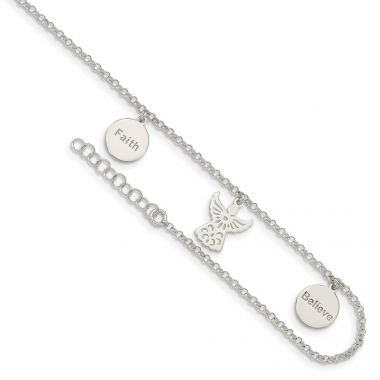 Quality Gold Sterling Silver Faith Believe and Angel Dangles Anklet
