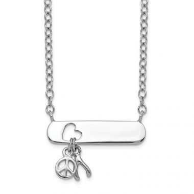Quality Gold Sterling Silver Open Cut Heart in Bar Wishbone Peace Sign Dangle Necklace