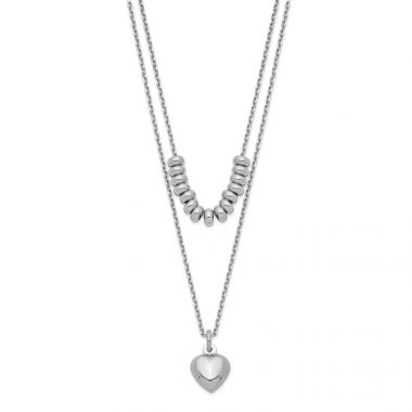 Quality Gold Sterling Silver Rhodium-plated 2-Strand Beads & Heart Dangle Necklace