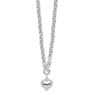 Quality Gold Sterling Silver Polished Rolo  Dangle Heart Charm Necklace
