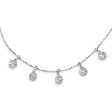 Quality Gold Sterling Silver Rhodium-plated CZ Circle Dangle Adjustable Necklace