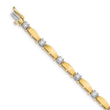 Quality Gold 14k Yellow Gold AAA Diamond Tennis Bracelet