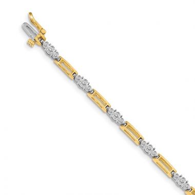 Quality Gold 14k Two-tone AAA Diamond Tennis Bracelet