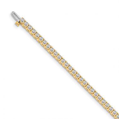 Quality Gold 14k Yellow Gold 2.1mm Diamond Tennis Bracelet