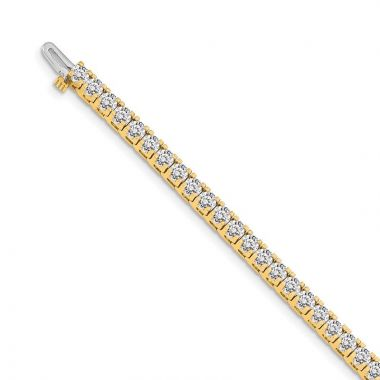 Quality Gold 14k Yellow Gold 3.25mm Diamond Tennis Bracelet