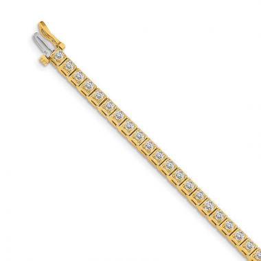 Quality Gold 14k Yellow Gold 2.2mm Diamond Tennis Bracelet