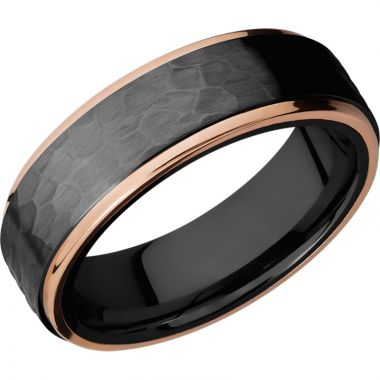 Lashbrook Black & Rose Zirconium 7mm Men's Wedding Band