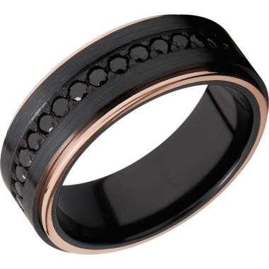 Lashbrook Black & Rose Zirconium Diamond 8mm Men's Wedding Band
