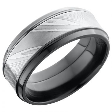 Lashbrook Black & White Zirconium Men's Wedding Band