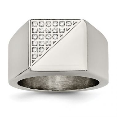 Chisel Stainless Steel Polished With Crystals Men's Ring