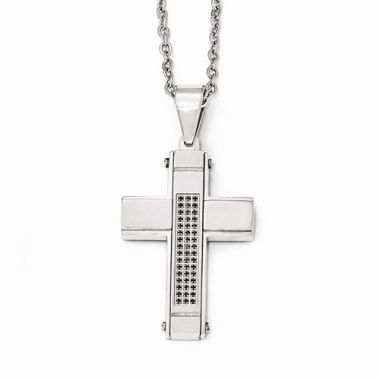 Chisel Stainless Steel Brushed And Polished W/ Black CZ Cross Necklace