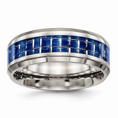 Chisel Titanium Polished Blue And White Carbon Fiber Inlay Men's Ring