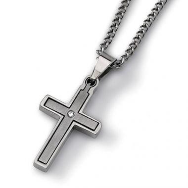 Chisel Titanium .03ct. Diamond Accent Cross 22in Necklace