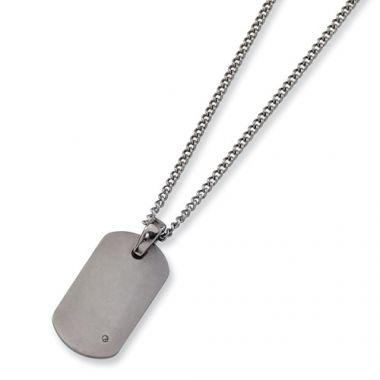 Chisel Titanium .02ct. Diamond Accent Necklace